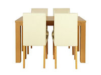 Pemberton Oak Effect Dining Table & 4 Cream Chairs.