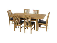 Franklin Extendable Dining Table-6 Black Paris Chairs.