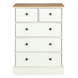 Kensington 3+2 Drawer Chest - Oak Effect and White
