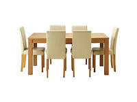 Hemsley Extendable Dining Table & 6 Cream Chairs.