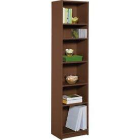 Maine Half Width Tall Extra Deep Bookcase - Walnut Effect