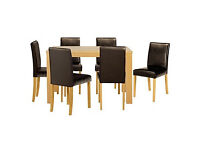 HOME Pemberton Oak Effect Dining Table & 6 Chocolate Chairs