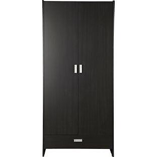 New Capella 2 Door 1 Drawer Wide Wardrobe - Black Effect