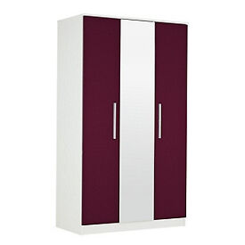 Sparkle 3 Door Mirrored Wardrobe - Plum.