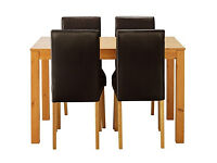 Newton Oak Stain Dining Table & 4 Chocolate Chairs