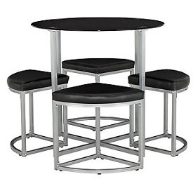 Tokyo Glass Round Space Saver Dining Table and 4 Stools