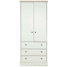 Kensington 2 Door 3 Drawer Wardrobe - Oak Effect and White
