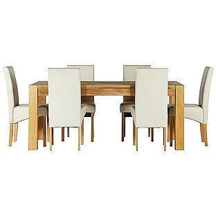 Heart of House Aspley Table & 6 Cream Skirted Chairs.
