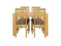 HOME Pemberton Oak Effect Dining Table & 4 Paris Chocolate Chairs