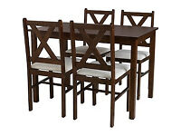Ava Walnut Stain Dining Table and 4 Cream Chairs
