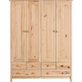 Scandinavia 4 Door 6 Drawer Wardrobe - Pine