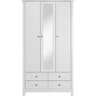 Osaka 3 Door 4 Drawer Mirrored Wardrobe - White