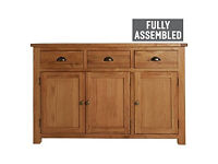 Kent 3 Door 3 Drawer Sideboard - Solid Oak & Oak Veneer