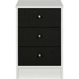 New Malibu 3 Drawer Bedside Chest - Black on White