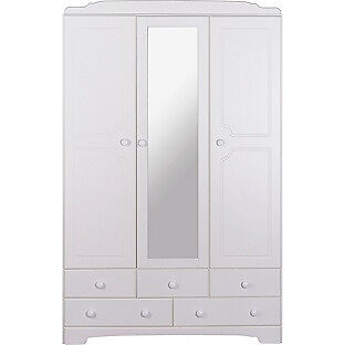 Nordic 3 Door 5 Drawer Mirrored Wardrobe - White