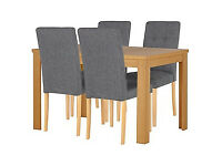 Adaline Oak Effect Ext Dining Table and 4 Chairs.