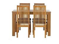 Pemberton Oak Effect Dining Table-4 Black Paris Chairs.