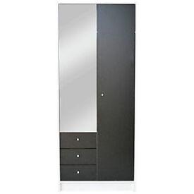 New Malibu 2 Door 3 Drw Mirrored Wardrobe - Black on White