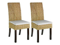 Heart of House Pair of Rattan Dining Chairs - Walnut Stain