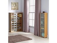 CD / DVD Storage Unit with Frosted Glass - Oak Effect