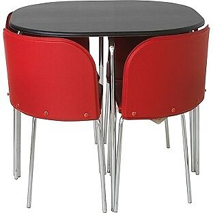 Black Table With E Saving Red Chairs Dining And Chair Set