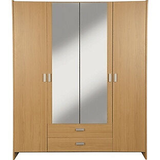 New Capella 4 Door 2 Drawer Mirrored Wardrobe - Oak Effect