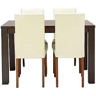 HOME Pemberton Dining Table & 4 Chairs -Walnut Effect Cream