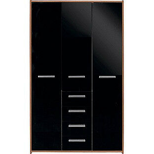 New Sywell 3 Door 4 Drawer Wardrobe-Walnut Effect and Black