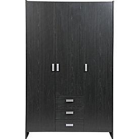 New Capella 3 Door 3 Drawer Wardrobe - Black Ash Effect