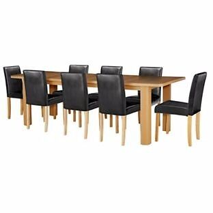Shenley Oak Effect Extendable Table & 8 Black Chairs. (NEW)