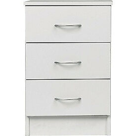 Cheval 3 Drawer Bedside Chest - White