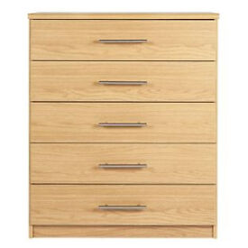 Normandy 5 Drawer Chest - Oak Effect