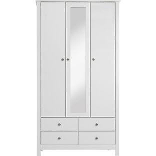 Osaka 3 Door 4 Drawer Mirrored Wardrobe - White