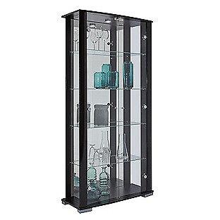Stella 2 Glass Door Display Cabinet - Black Gloss