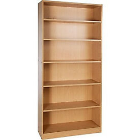 Maine Tall and Wide Extra Deep Bookcase - Beech Effect