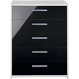 New Sywell 5 Drawer Chest - White and Black Gloss