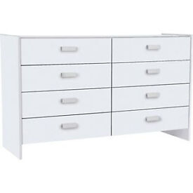 Fully assembled New Capella 4+4 Drawer Chest - White
