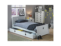 Stars White Single Bed with Drawer