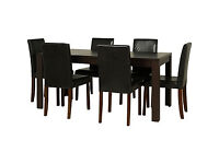 HOME Penley Ext Dining Table and 6 Chairs - Walnut Stain - Black