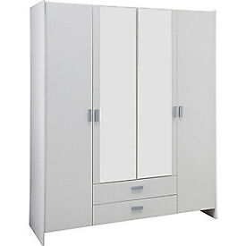 New Capella 4 Door 2 Drawer Mirrored Wardrobe - White