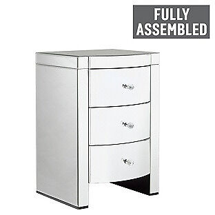 Heart of House Canzano 3 Drawer Mirrored Bedside Chest.