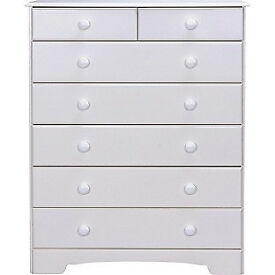 Fully assembled Nordic 5+2 Drawer Chest - White