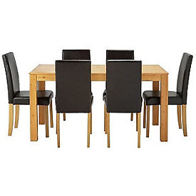 Newton Oak Stain Dining Table   6 Black ChairsSchreiber Chalbury 6 8 Seat Extend  Dining Table  White and Oak  . Adaline Walnut Extendable Dining Table And 6 Chairs. Home Design Ideas
