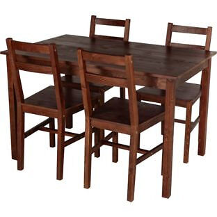 Raye Wooden Dining Table and 4 Dark Chairs