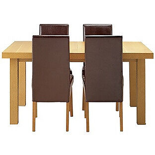 Cosgrove Ext Oak Stain Dining Table - 6 Chocolate Chairs.