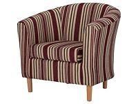 Stripe Fabric Tub Chair - Mulberry