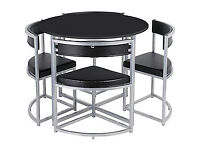 Fully assembled Hygena Milan Black Space Saver Table and 4 Black Chairs