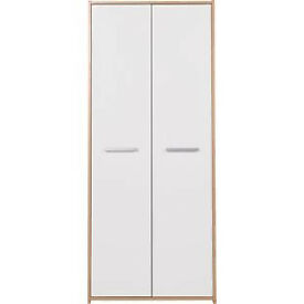 New Sywell 2 Door Wardrobe - Oak Effect and White Gloss