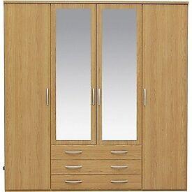 New Hallingford 4 Dr 3 Drw Mirrored Wardrobe - Oak Effect (READ DESCRIPTION)