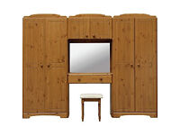 Nordic Wardrobe Fitment and Stool - Pine